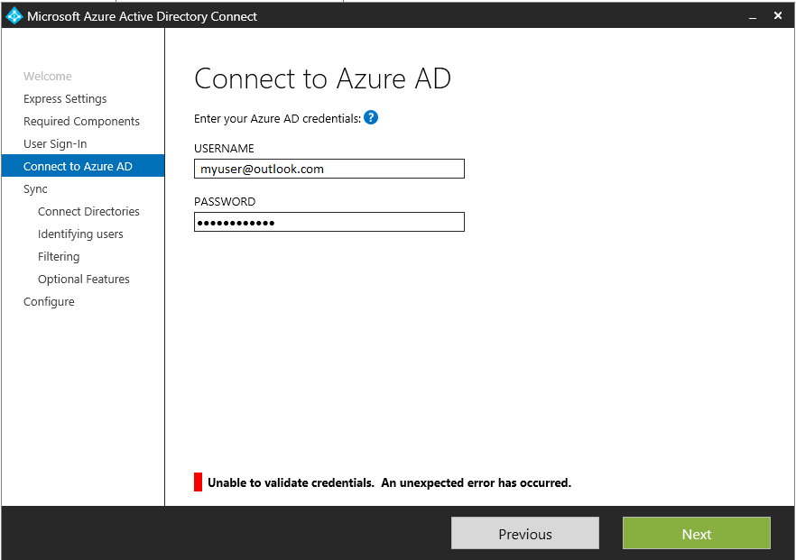 Fix: Azure AD Connect unexpected error on sign in | Noel